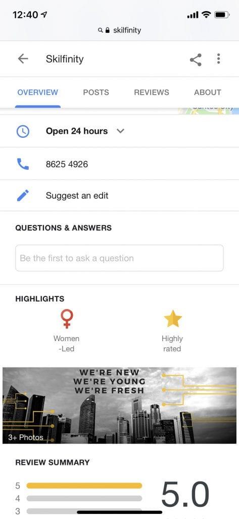 Skilfinity Google My Business Women-Led